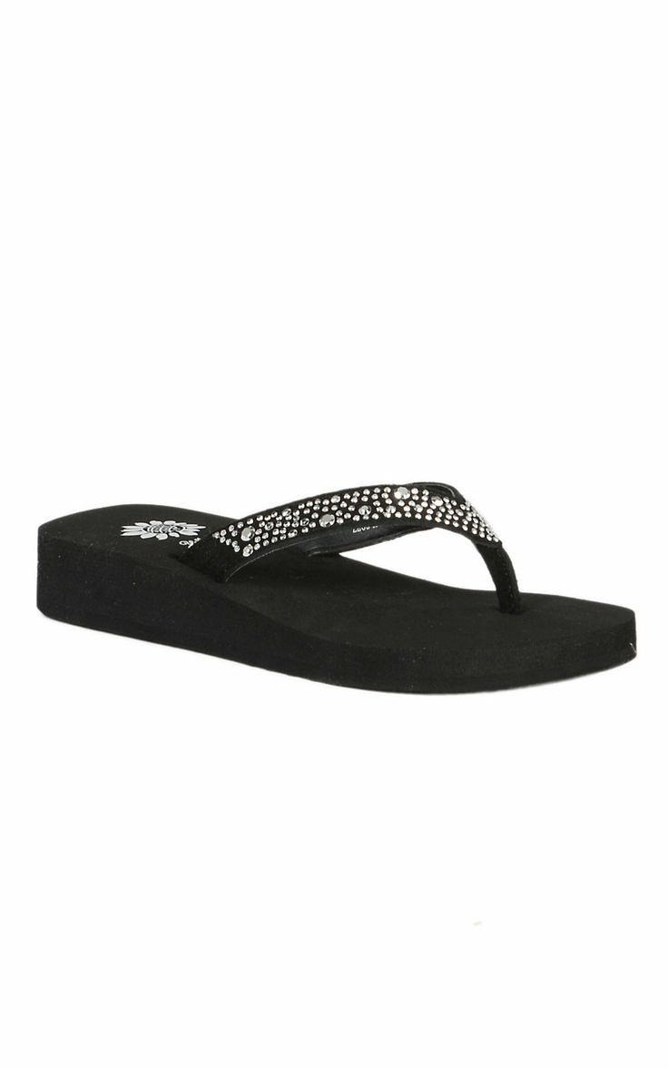 Yellow Box Kids Zeus Black with Small Clear Bling Flip Flop Sandals