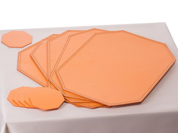 Octagon Placemat,Ocatgon Coasters,Orange Table Mat,Orange Placemat  Set,Orange Dining