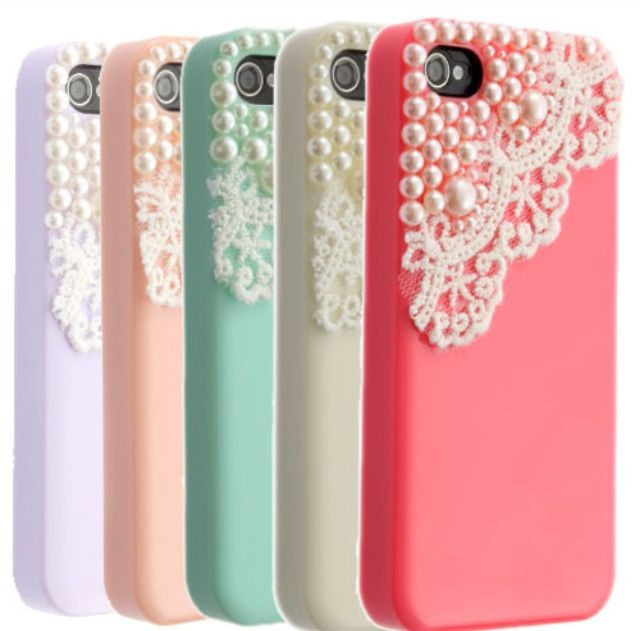 Originally $12.99 Lace is popping up everywhere this season and pearls are always a classic. Get this trendy, one of a kind iPhone case in one of five hot colors. Lavandar Peach Mint Ivory cream Pink Compatible with iPhone 4, 4S, & 5!