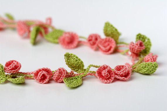 Crochet Pattern Rose Garden Necklace. Use for trim on a little dress.