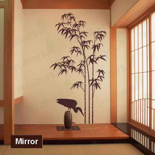 80 tall Large Bamboo Tree Removable Vinyl Wall Decals Sticker Wall Art Home Decor With a Crane Bird Decal. $39.95, via Etsy.