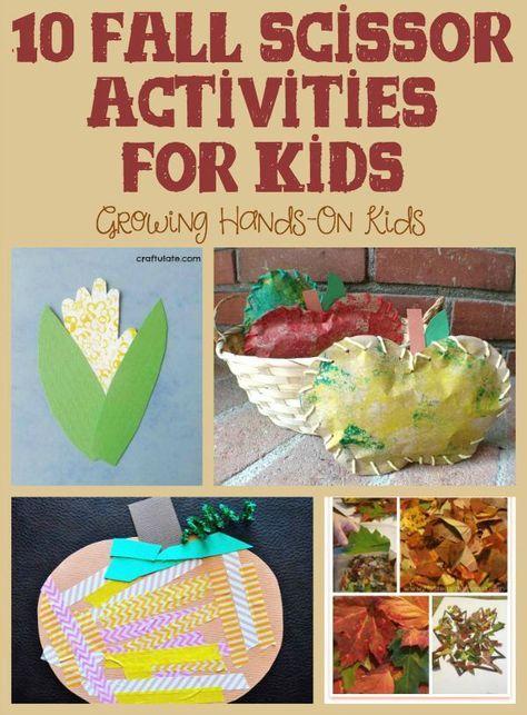 10 fall activities for scissor skills practice for kids.