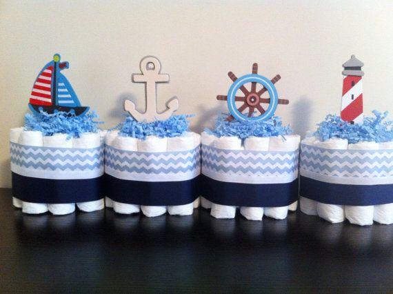 Set of 4 Mini Nautical Diaper Cakes, Nautical Baby Shower, Nautical Shower Centerpiece Decor