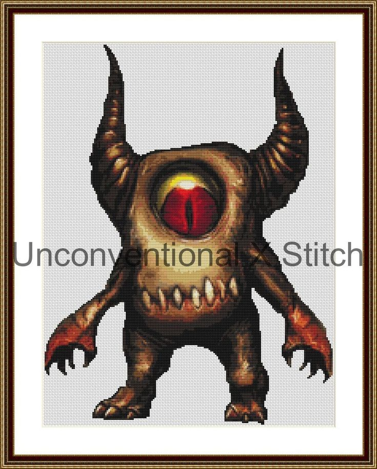 Monster counted cross stitch pattern - Monster #4 - Licensed by UnconventionalX on Etsy