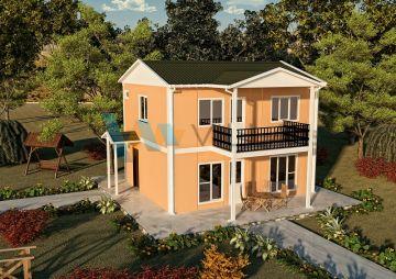 114 m² Çift Katlı Prefabrik Ev 2