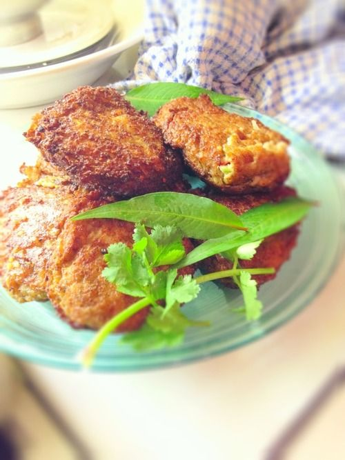 Thai fish cakes - not the mashed potato European style ones. These contain fresh fish, Thai spice paste, lime leaf, onion, shrimp paste, coconut, chilli, garlic, with a little rice flour and egg to bind it.   Just mince it, shape into cakes and chill until ready to fry. Easy!