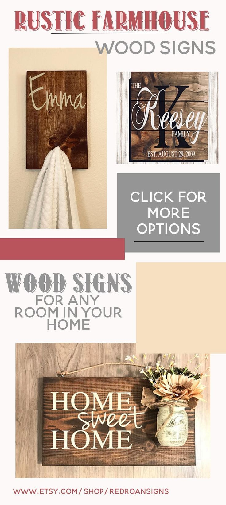 Rustic Farmhouse wood signs for the entire family! These make great wedding gifts, birthday gifts, and so many other special occasions. With a rustic charm these handmade signs are unique and add the perfect touch to any farmhouse. #home #decor #homedecor #farmhouse #rustic #woodwork #handmade #woodsigns