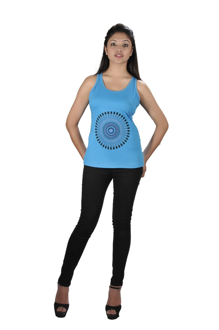 Simple but beautiful blue tops with circular pattern!!!