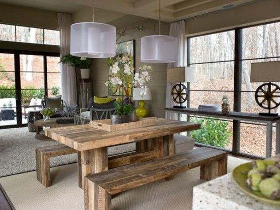 HGTV Green Home 2012 - dining roomDining Rooms, Dining Room Tables, Rustic Decor, Rustic Tables, Kitchens Tables, Diningroom, Rustic Modern, Modern Lights, Dining Tables