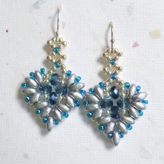 SuperDuo Beadwoven Earrings Heart Earrings Beaded by mybeads4you