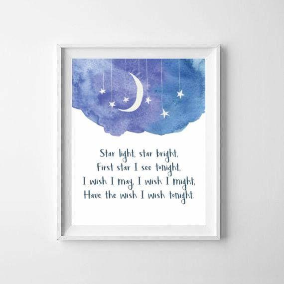 Nursery Rhymes Prints / Star Light Star Bright / Goodnight Print / Star Nursery Rhymes / Goodnight Nursery Art / Wish Nursery Print