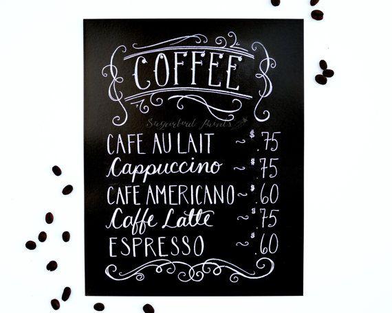 Coffee Print  Coffee Menu Chalkboard Sign Chalk by Sugarbirdprints