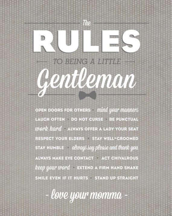 Little Gentleman Rules. $12.00, via Etsy.