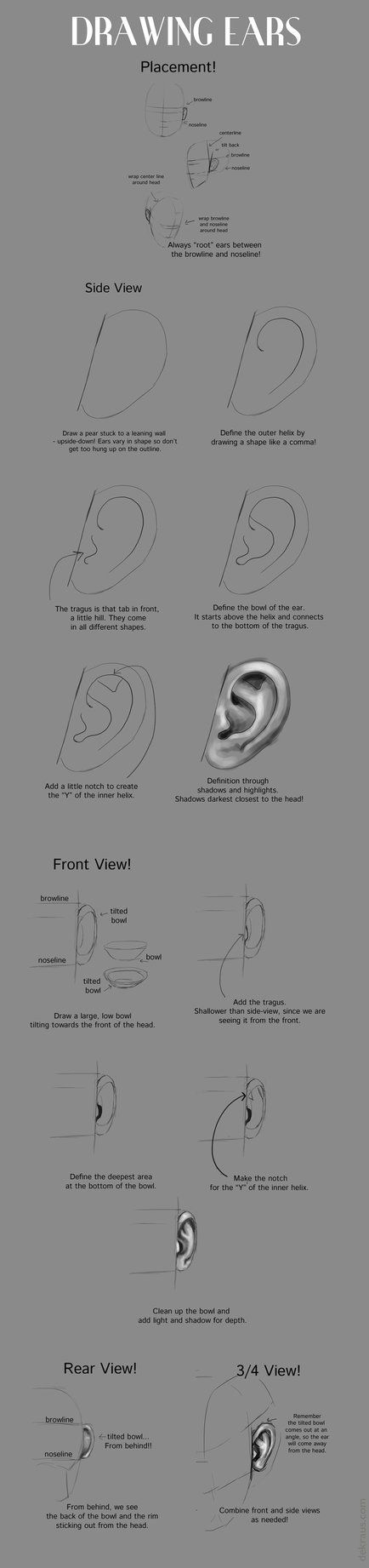 By request. Just a quick walkthrough on ears, one of my favorite body parts to draw (as evident by how often I show them!)
