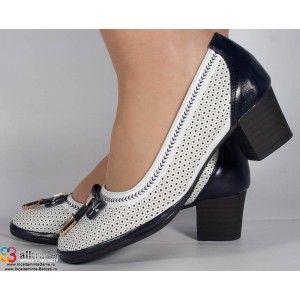 Pantofi perforati albi albastru office dama/dame/femei (cod 16-028410)