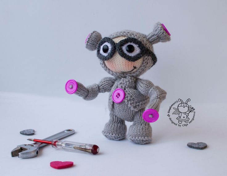 Pebble doll Robot - knitting pattern (knitted round). Robot Toy- knitting pattern (knitted round). Amigurumi Robot by simplytoys13 on Etsy
