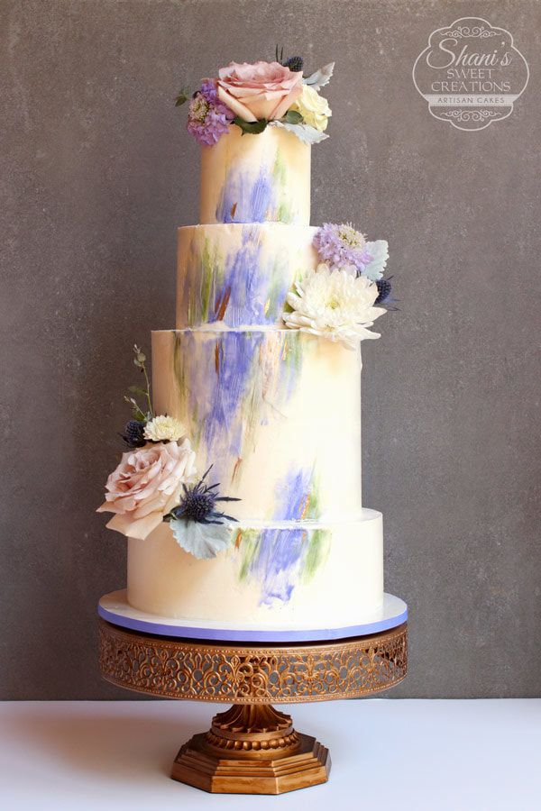 Watercolor Buttercream Wedding Cake With Fresh Flowers