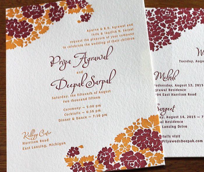 38 best invitation design arti images on pinterest indian orange red floral indian paisley on letterpress summer wedding invitation stopboris Gallery