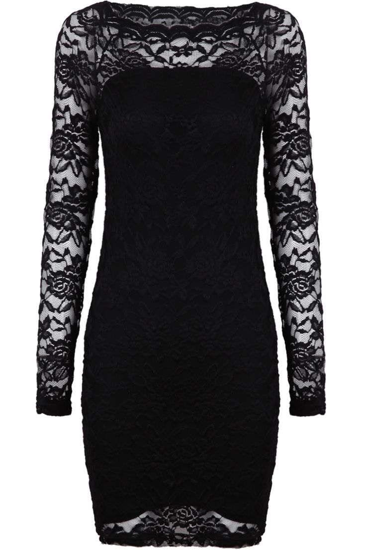 Black Contrast Lace Long Sleeve Embroidered Dress - Sheinside.com