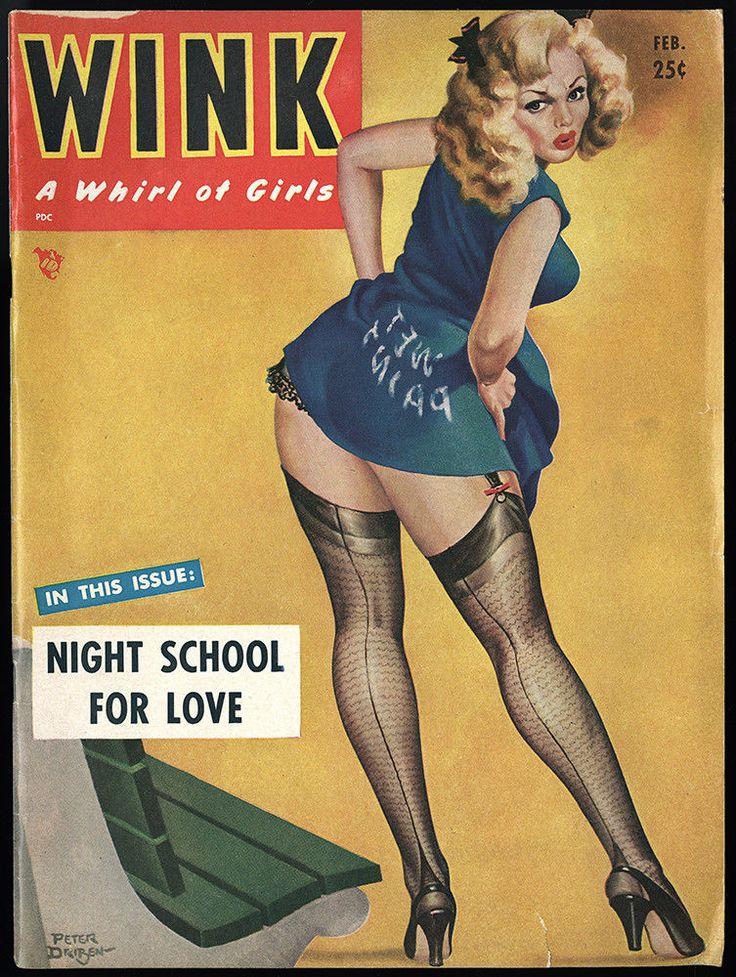 February 1952 Wink Magazine Peter Driben Pin Up Cover Bettie Page Winnie Garrett