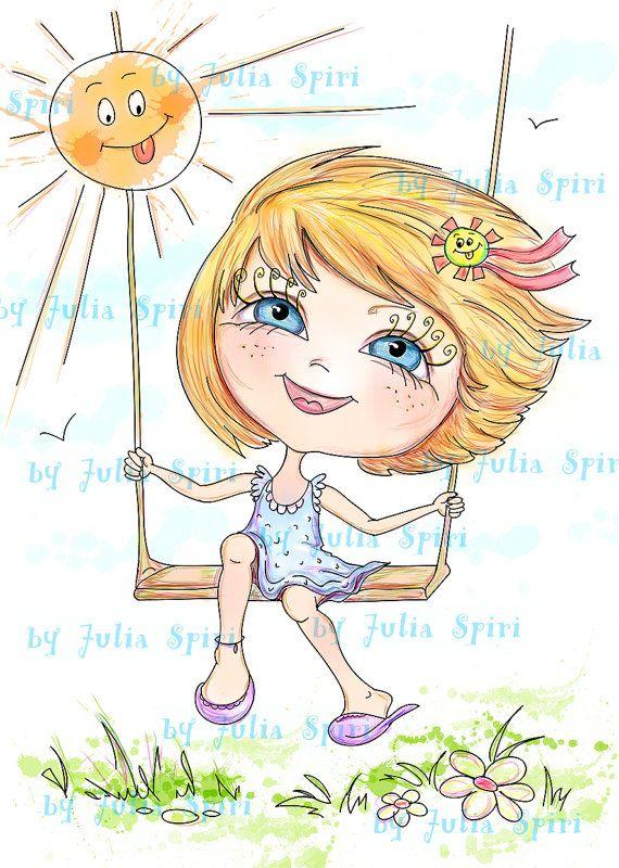 Digital Digi Stamps Childrens Illustration Digital por JuliaSpiri