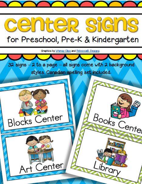 Center Signs for Preschool, PreK and Kindergarten Classrooms