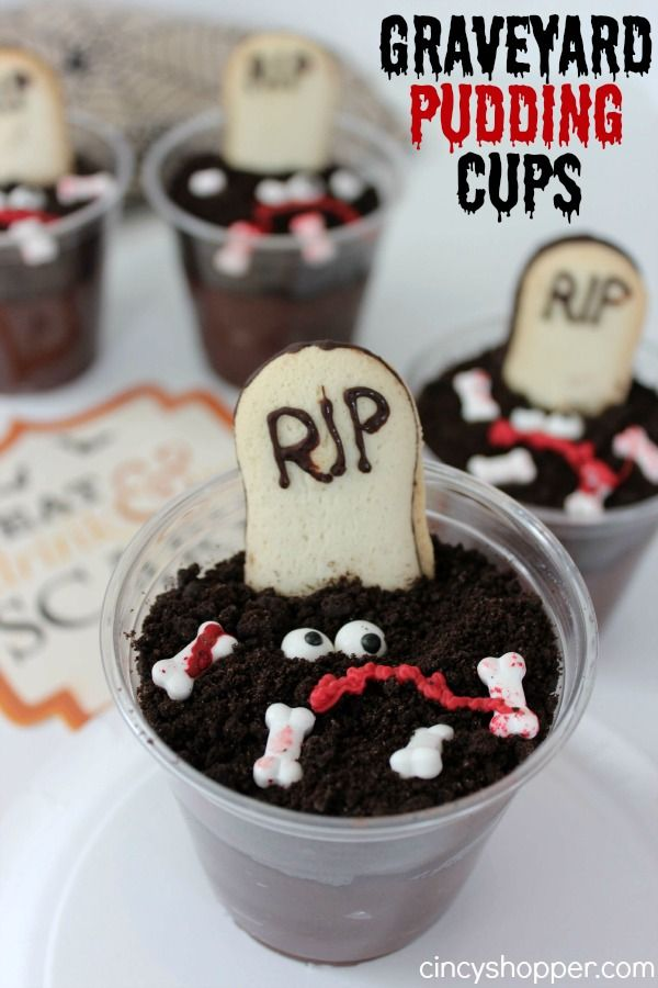 Graveyard Pudding Cups Recipe. Perfect and simple Halloween treat. My kiddos LOVE them.