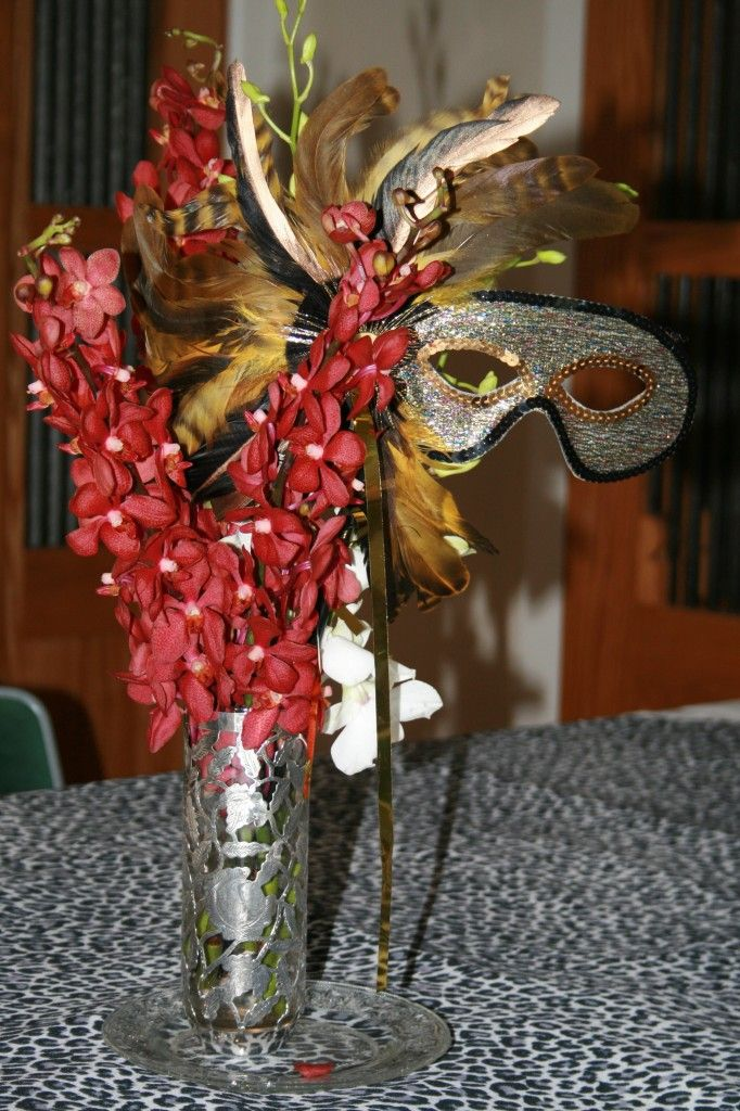 Purim Table: exotic masks that I ordered from from AnytimeCostumes for about ten dollars each