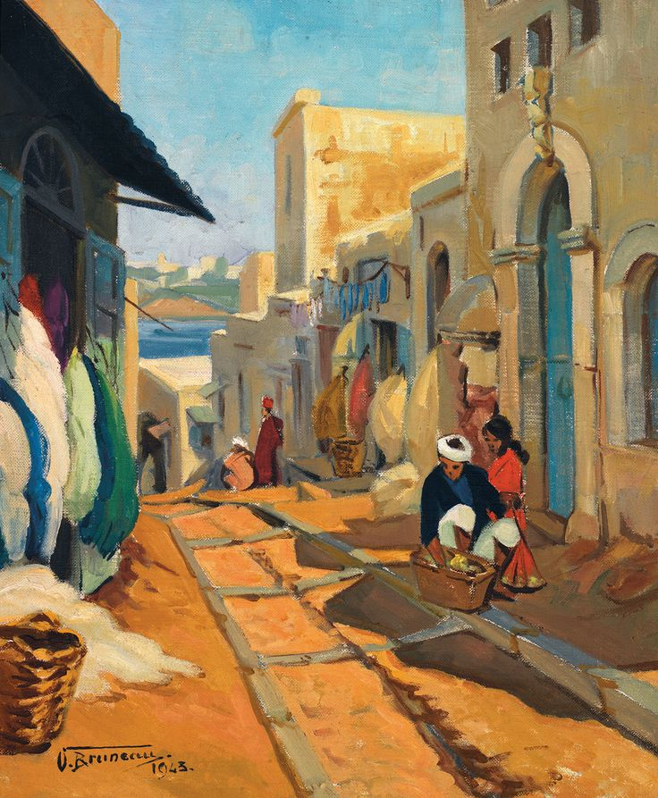 ODETTE BRUNEAU (1891-1984) - SCÈNE DE RUE AU MAROC - STREET SCENE IN MOROCCO