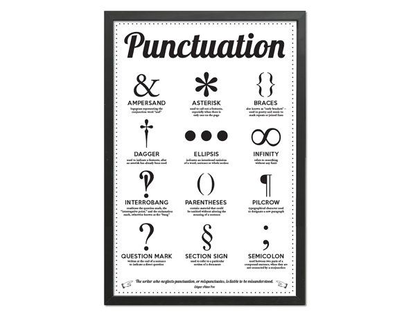 Twelve Punctuation Marks - Black and White Art Print - Punctuation Typography Poster - 12 x 18 Wall Art Decor