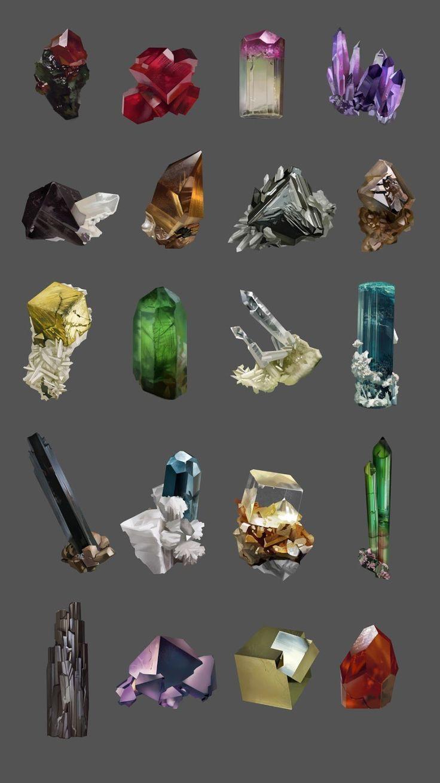 Mineral studies, Laurence Viollet on ArtStation at https://www.artstation.com/artwork/mineral-studies
