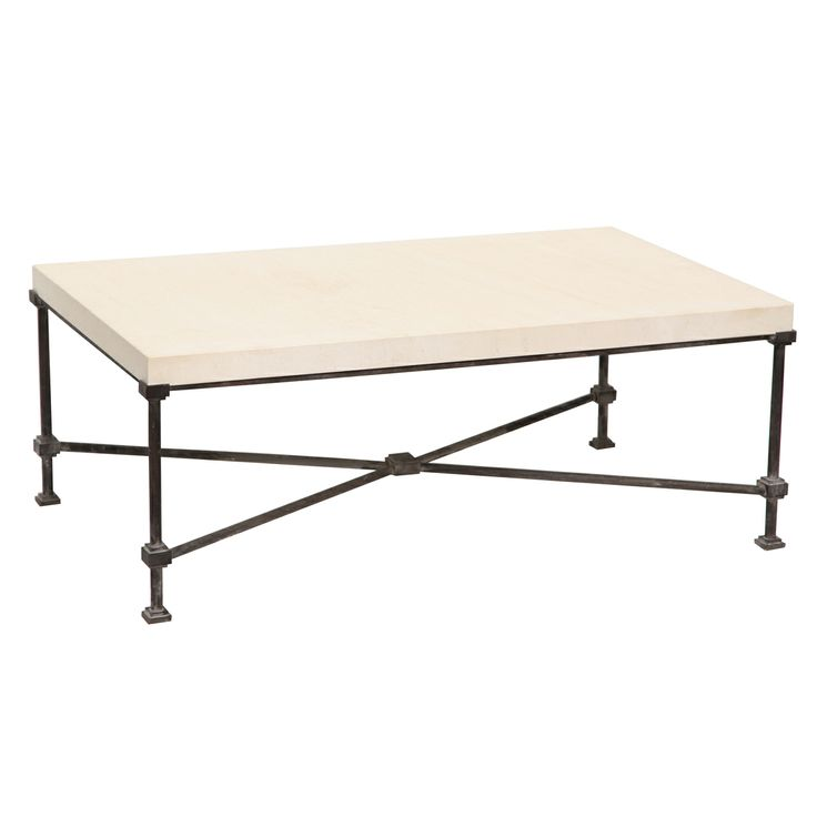 Elegant Limestone Top Coffee Table With Metal Base | From A Unique Collection Of  Antique And Modern