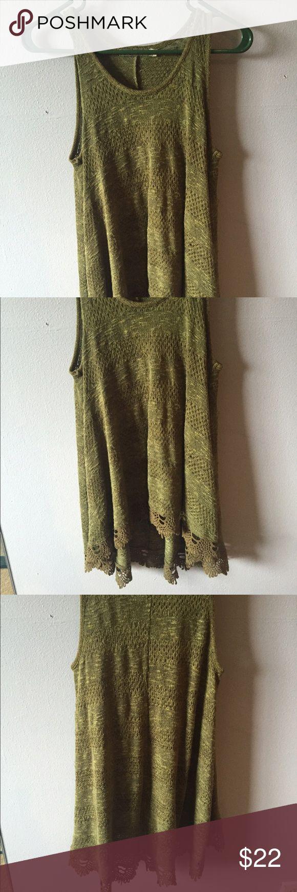 Dark forest green tunic Laced bottom dark green Chloe K tunic Chloe K Tops Tunics
