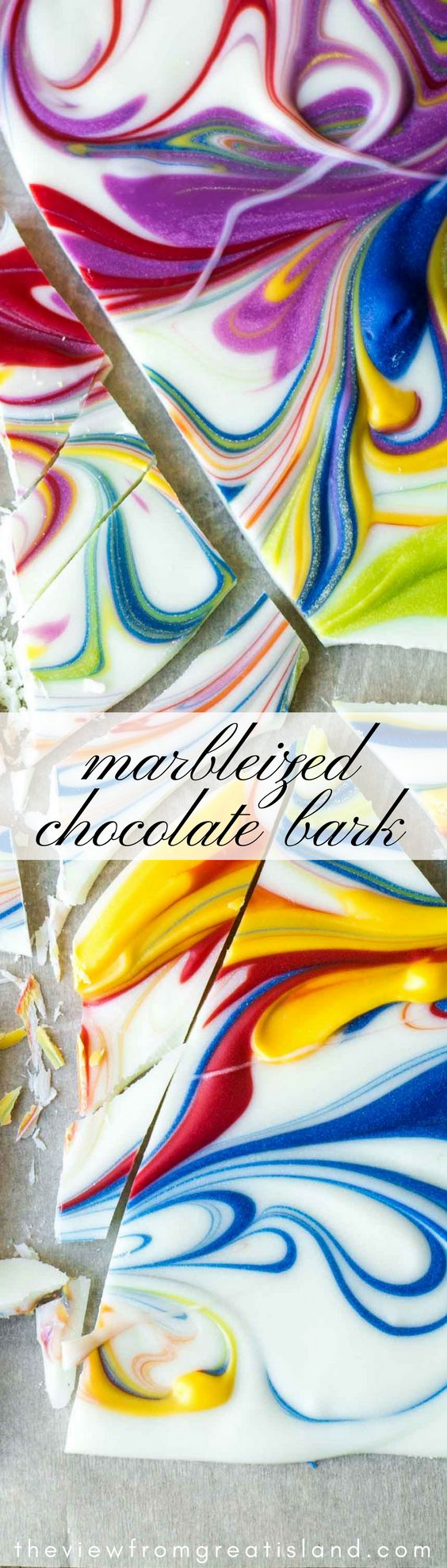 Marbleized Chocolate Bark --- this colorful homemade chocolate bark is kind of like finger painting in the kitchen, but you get something delicious to eat when it's all done! #chocolate #bark #candy #homemadecandy #chocolatebark #holidayfoodgift #dessert #candymelts #wilton #marbleizedchocolate #Christmas #Easter #whitechocolate