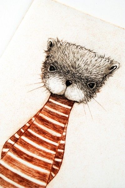 minu, 'The Otter', two colour drypoint print 19 x 27cm, edition of 15