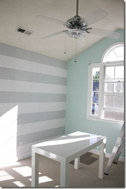 Pretty color combo- Light blue with gray. #stripes on wall, cute for office or nursery decor