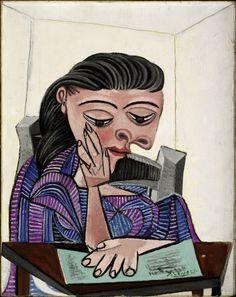 """Pablo Picasso """"Ragazza che legge"""", 1938 Olio su tela, 69,2 × 55,2 cm Detroit Institute of Arts, Gift of the Josephine F. Ford Estate (2005.60) © Succession Picasso by SIAE 2015  <a class=""""pintag searchlink"""" data-query=""""%23impressionistipicasso"""" data-type=""""hashtag"""" href=""""/search/?q=%23impressionistipicasso&rs=hashtag"""" rel=""""nofollow"""" title=""""#impressionistipicasso search Pinterest"""">#impressionistipicasso</a>"""