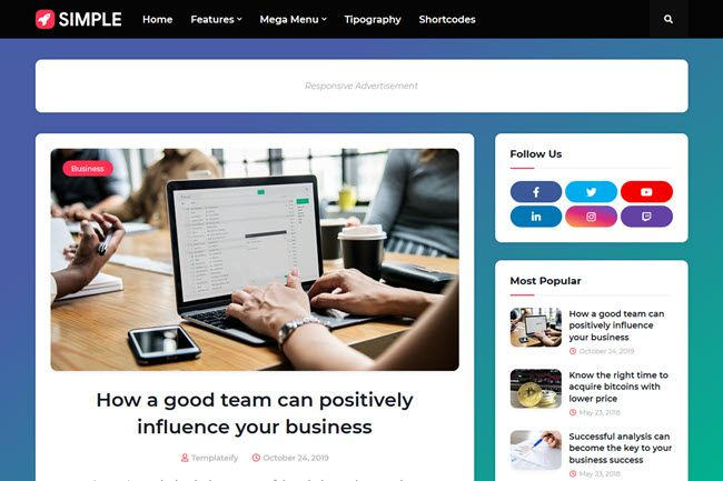 Simple Responsive Blogger Template In 2020 Free Blogger Templates Blogger Templates Blog Templates Free