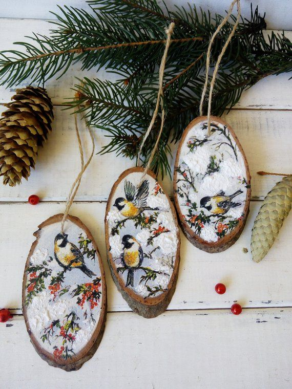 Set Christmas tree slice with winter birds. Wooden Christmas