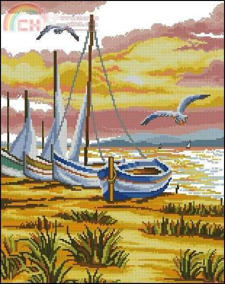 cadru cu barci