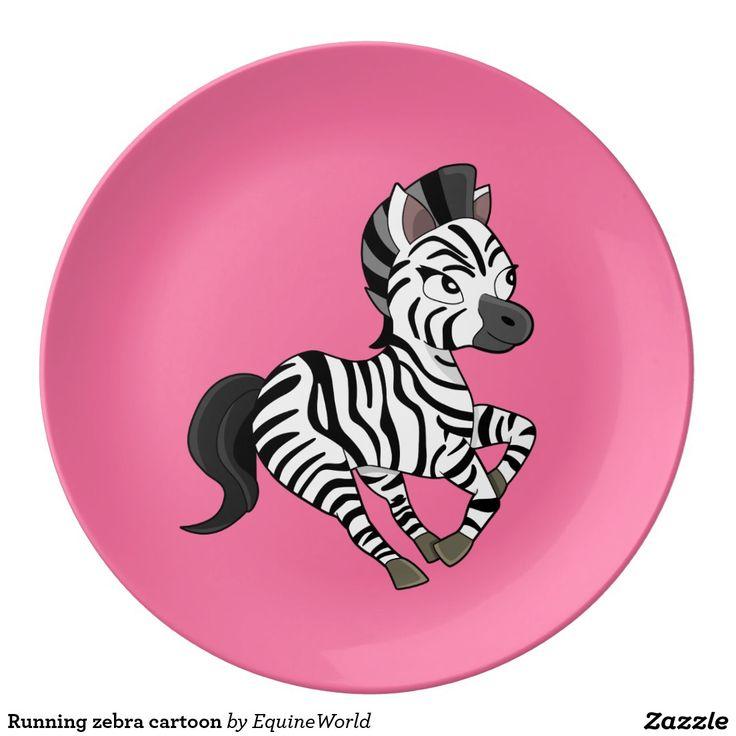 Running zebra cartoon porcelain plate