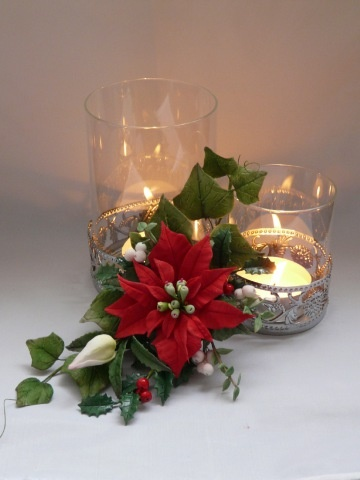 PoinsettiaPoinsettia, Sugarflower, Winter, Lit Candles, Christmas Decor, Centerpieces, Tglass Decor