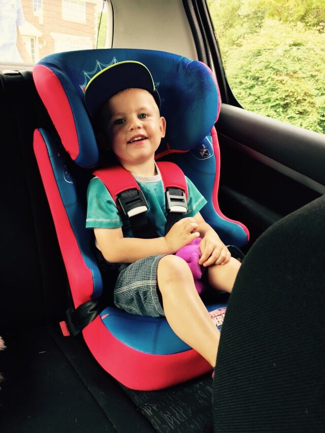 Beautiful boy happy to be off out in his new Spider-Man car seat #love #themeaningtolife #happypeople