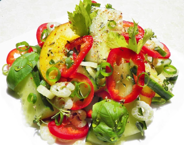 Cucumber, Nectarine and Red Pepper Salad