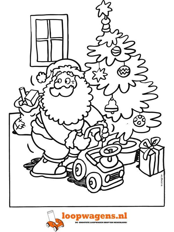 kleurplaat kerstman geeft loopwagen cadeau kerstman