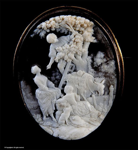 Cameo by russwxyz, shell, detailed. Orchard scene, 1830.
