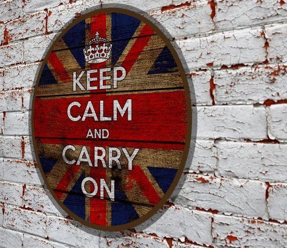 Placa Redonda Keep Calm Flag