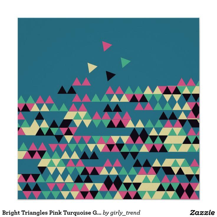 Het heldere Roze Turkooise Geometrische Patroon va Poster