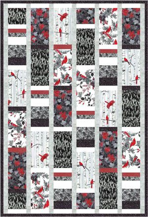Black and white and red to pop... Larger rectangles wih another long block of stacked strips. Free Quilt Pattern: Woodsy Winter black-white