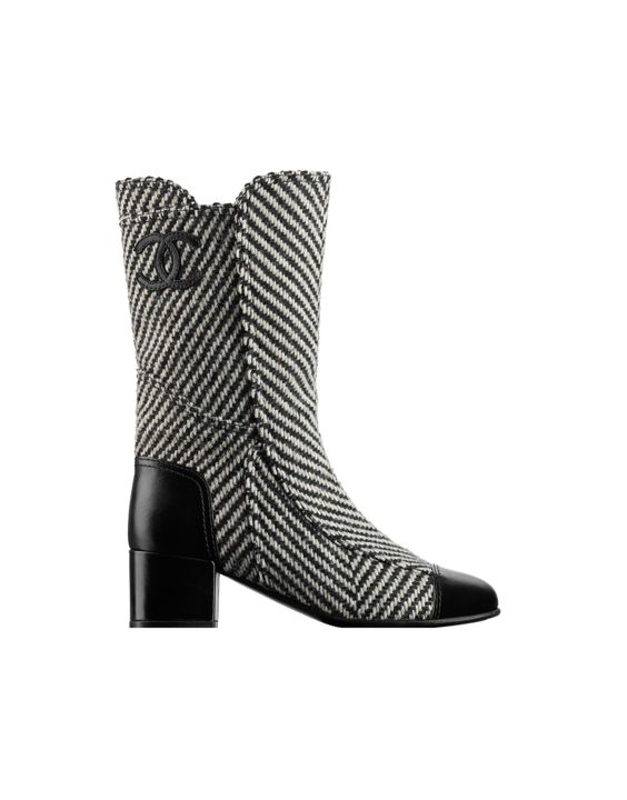 Tweed and calfskin high boots,... - CHANEL